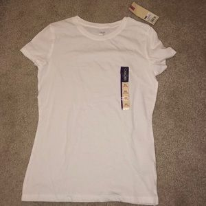 Plain white crew neck short sleeve t shirt